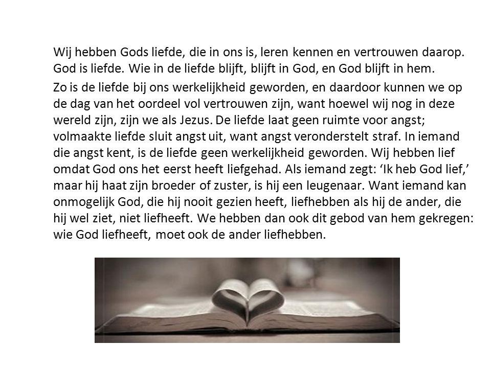 Wij hebben Gods liefde, die in ons is, leren kennen en vertrouwen daarop. God is liefde. Wie in de liefde blijft, blijft in God, en God blijft in hem.