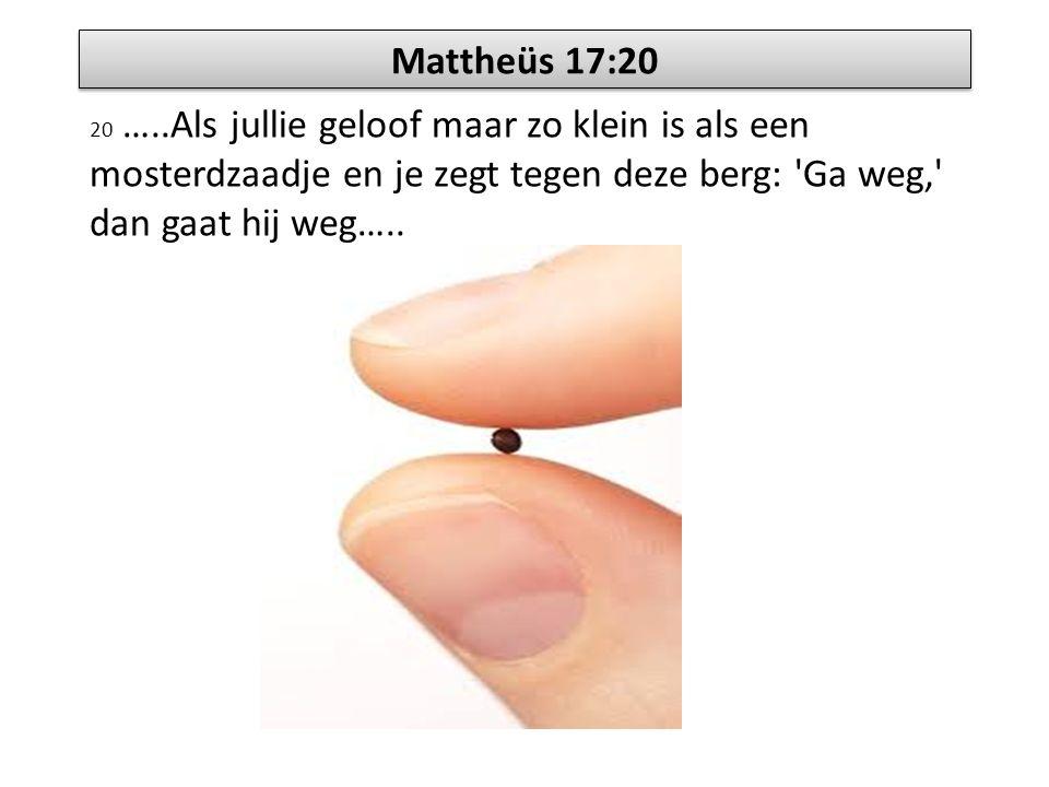Mattheüs 17:20 20 …..Als jullie geloof maar zo klein is als een mosterdzaadje en je zegt tegen deze berg: Ga weg, dan gaat hij weg…..