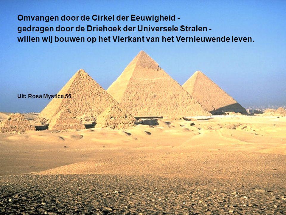 Omvangen door de Cirkel der Eeuwigheid - gedragen door de Driehoek der Universele Stralen - willen wij bouwen op het Vierkant van het Vernieuwende leven.
