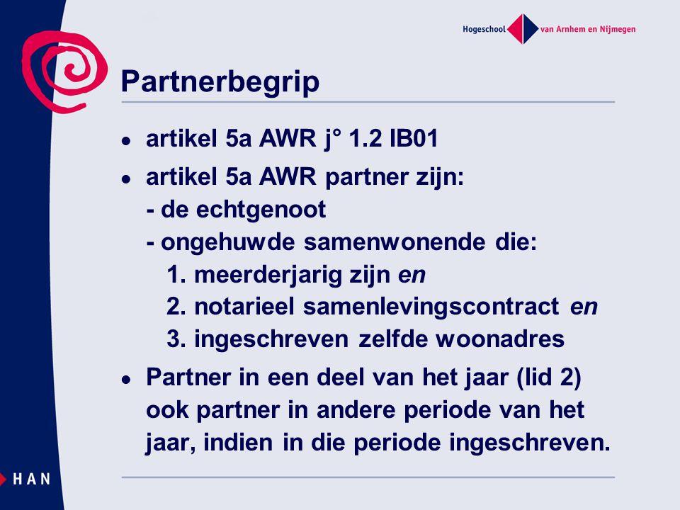 Partnerbegrip artikel 5a AWR j° 1.2 IB01
