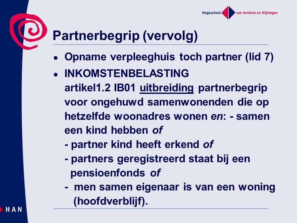 Partnerbegrip (vervolg)