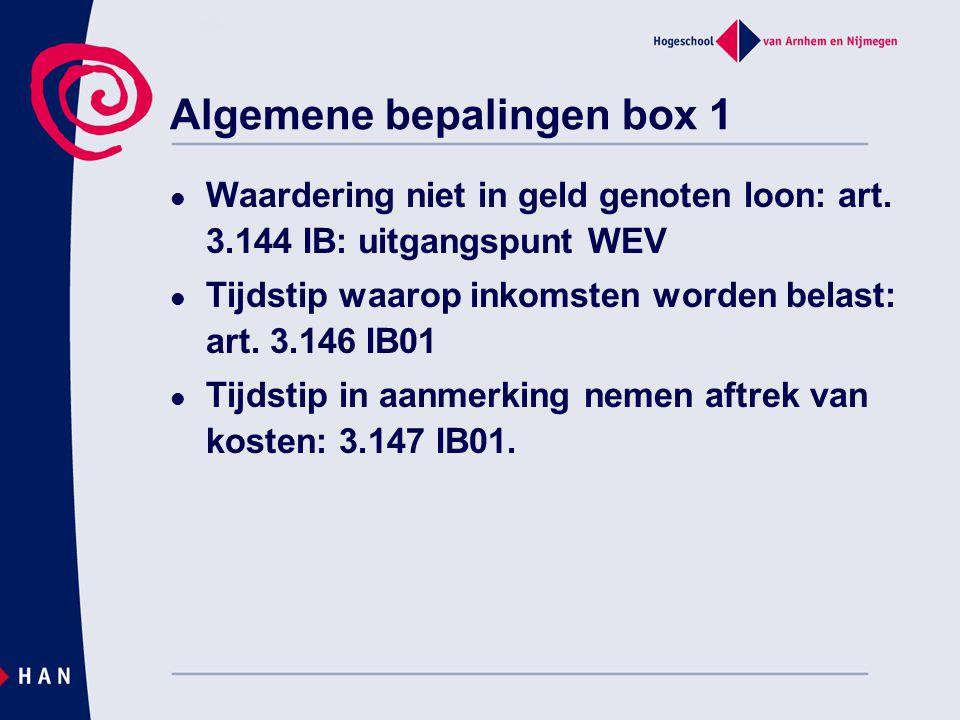 Algemene bepalingen box 1