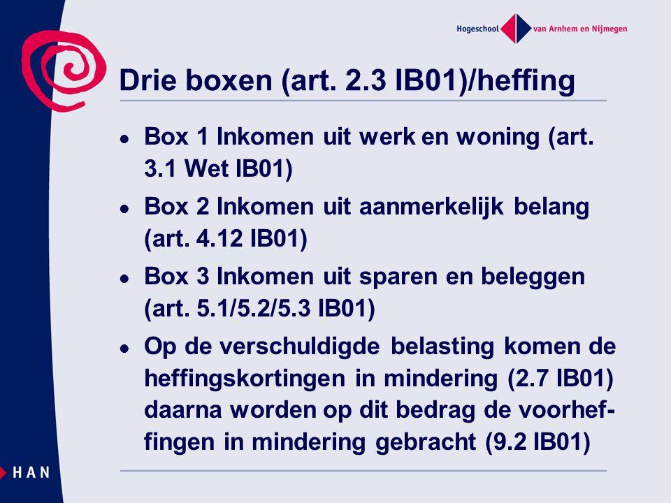 Drie boxen (art. 2.3 IB01)/heffing