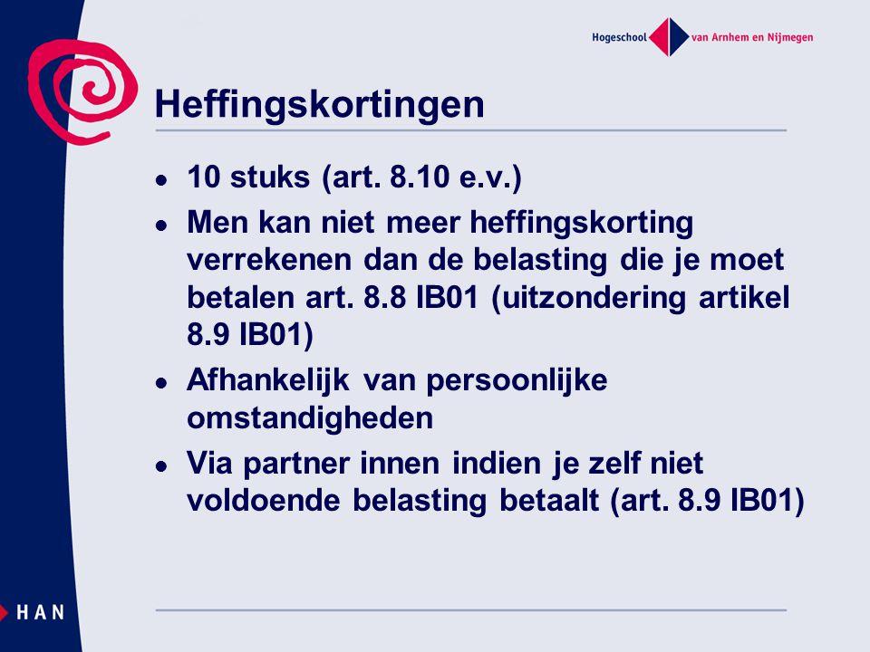 Heffingskortingen 10 stuks (art. 8.10 e.v.)