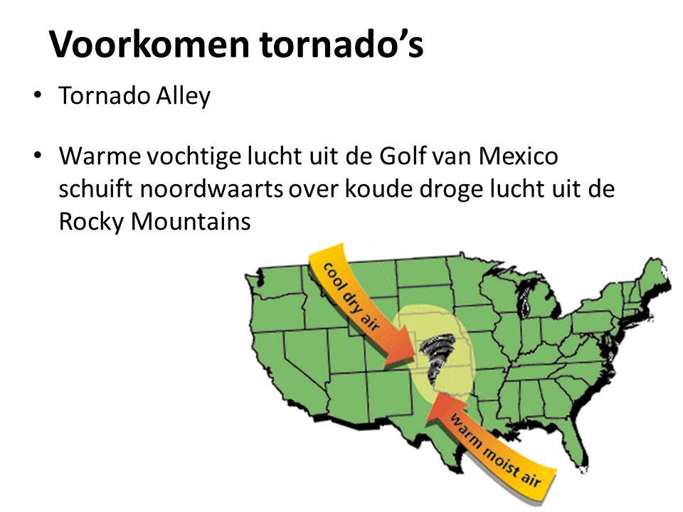 Voorkomen tornado's Tornado Alley