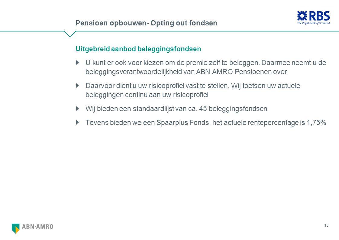 Pensioen opbouwen- Opting out fondsen