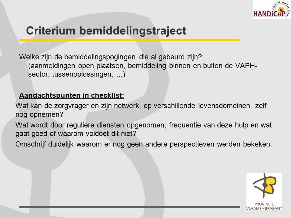 Criterium bemiddelingstraject