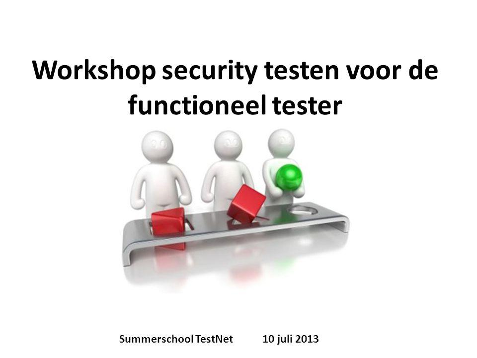 Workshop security testen voor de functioneel tester