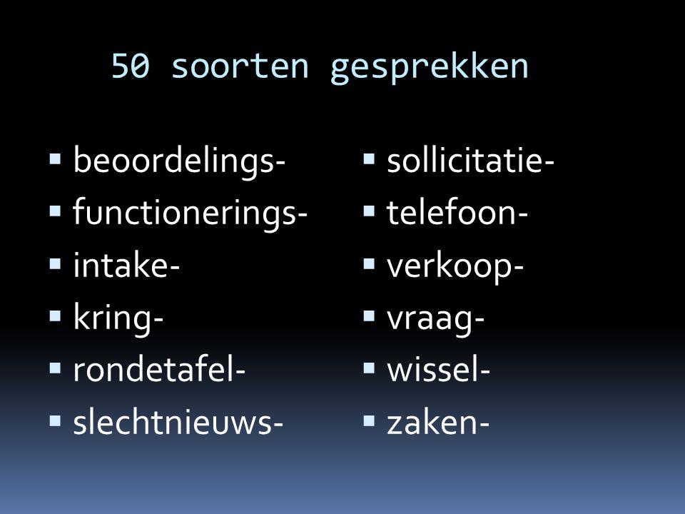 50 soorten gesprekken beoordelings- functionerings- intake- kring- rondetafel- slechtnieuws- sollicitatie-