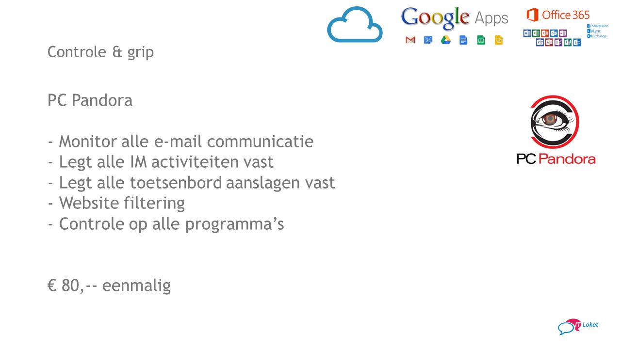 Monitor alle e-mail communicatie Legt alle IM activiteiten vast