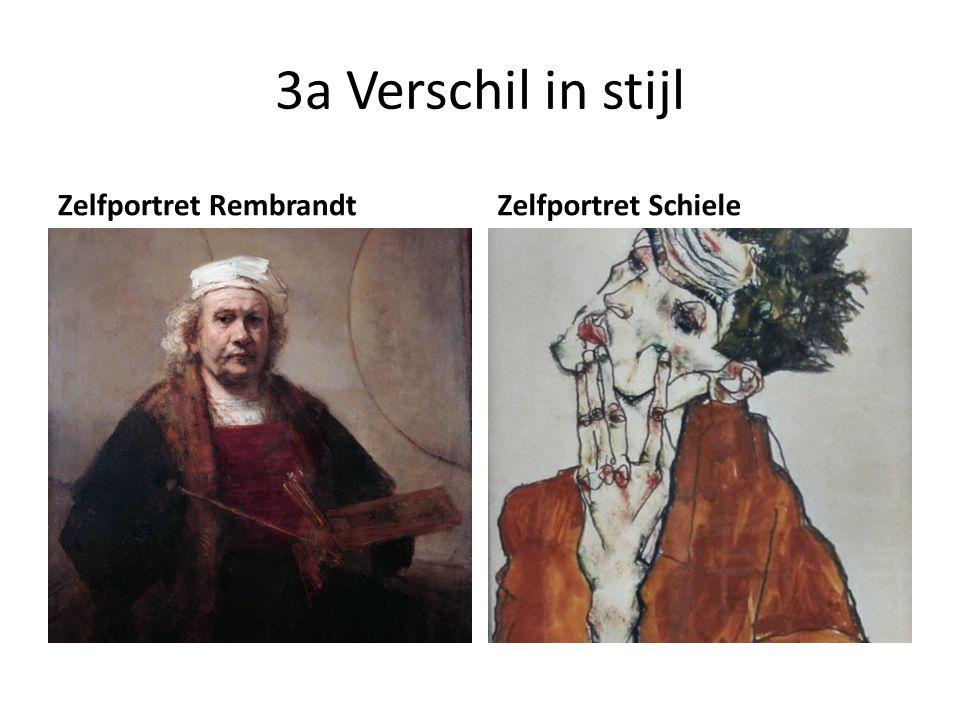 3a Verschil in stijl Zelfportret Rembrandt Zelfportret Schiele