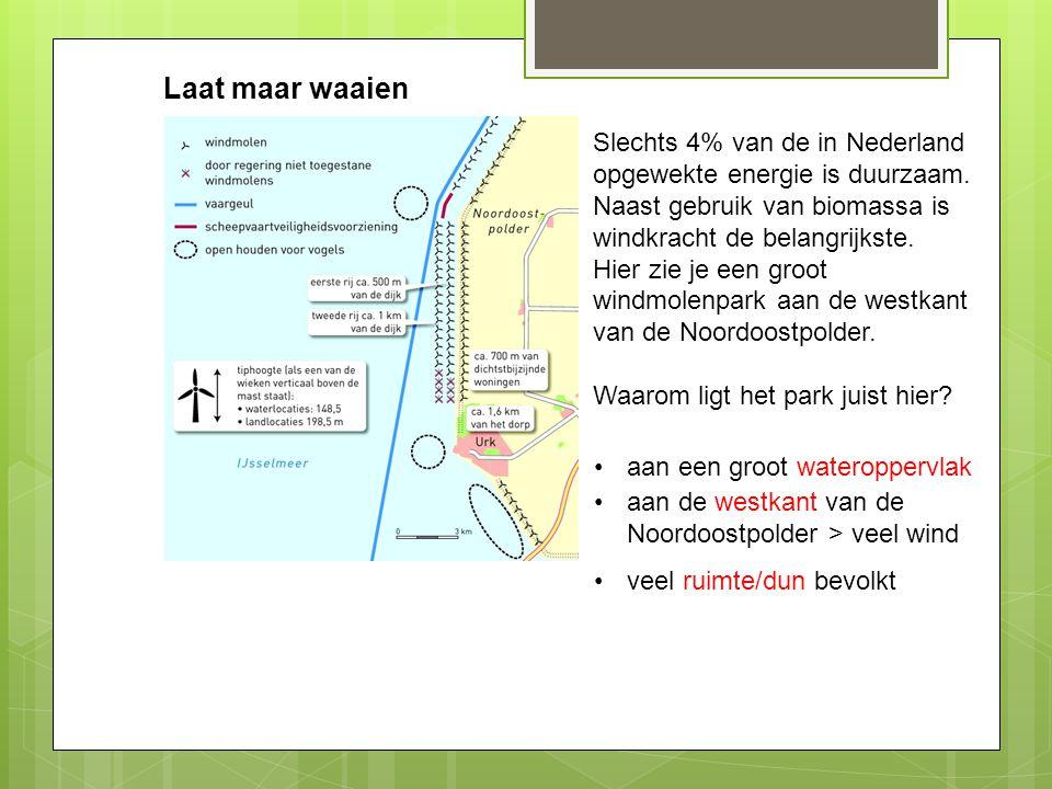 Laat maar waaien Slechts 4% van de in Nederland opgewekte energie is duurzaam. Naast gebruik van biomassa is windkracht de belangrijkste.
