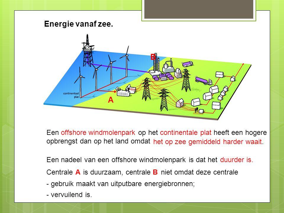 Energie vanaf zee. B. A. Een offshore windmolenpark op het continentale plat heeft een hogere opbrengst dan op het land omdat.