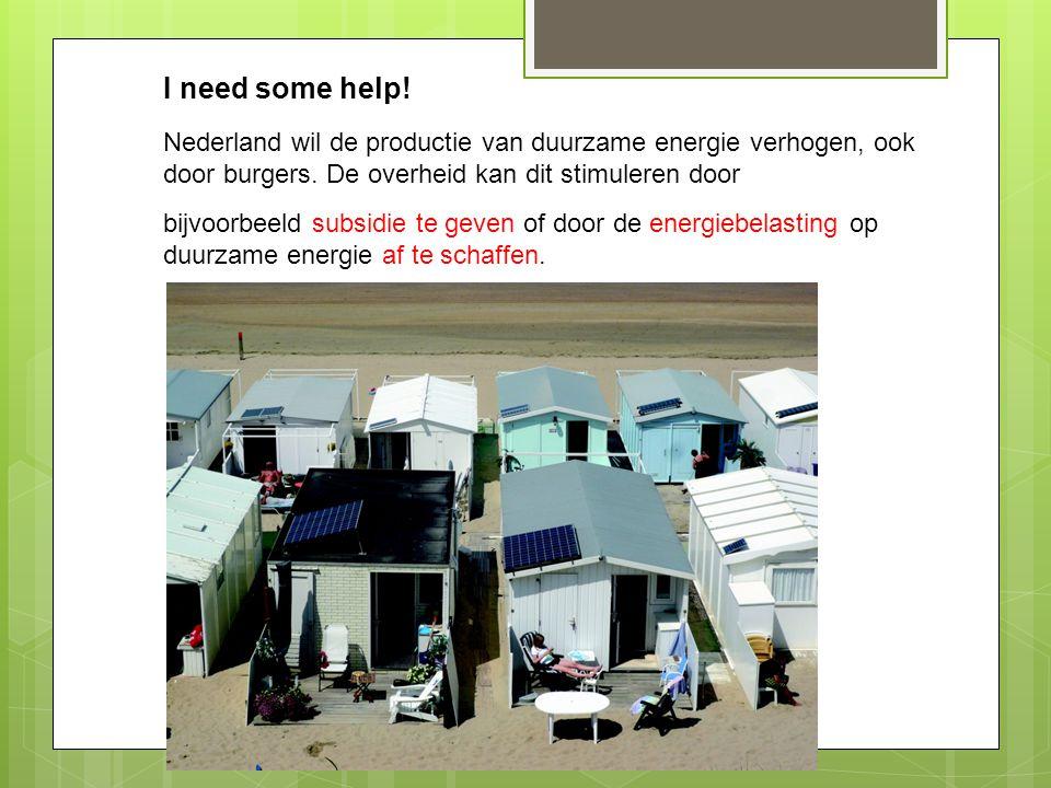 I need some help! Nederland wil de productie van duurzame energie verhogen, ook door burgers. De overheid kan dit stimuleren door.