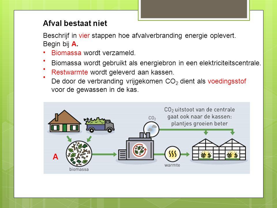 Afval bestaat niet Beschrijf in vier stappen hoe afvalverbranding energie oplevert. Begin bij A. Biomassa wordt verzameld.