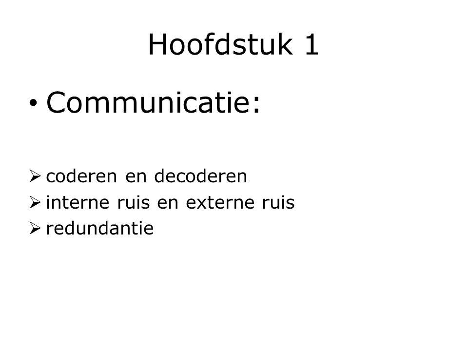 Hoofdstuk 1 Communicatie: coderen en decoderen