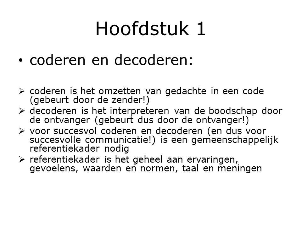 Hoofdstuk 1 coderen en decoderen: