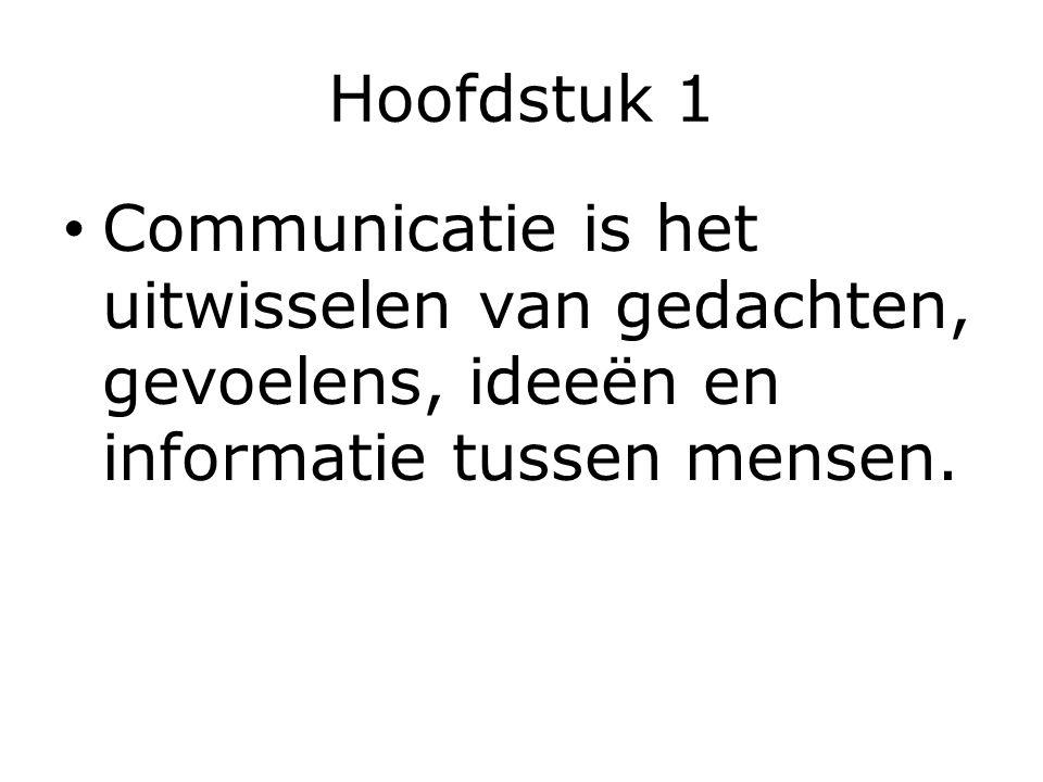 Hoofdstuk 1 Communicatie is het uitwisselen van gedachten, gevoelens, ideeën en informatie tussen mensen.