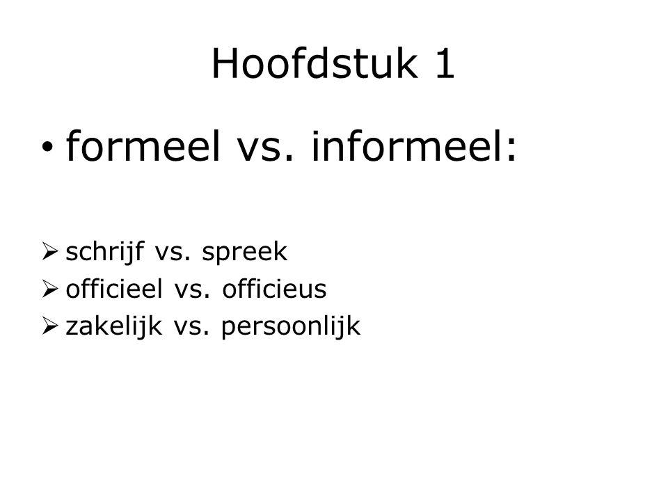 Hoofdstuk 1 formeel vs. informeel: schrijf vs. spreek