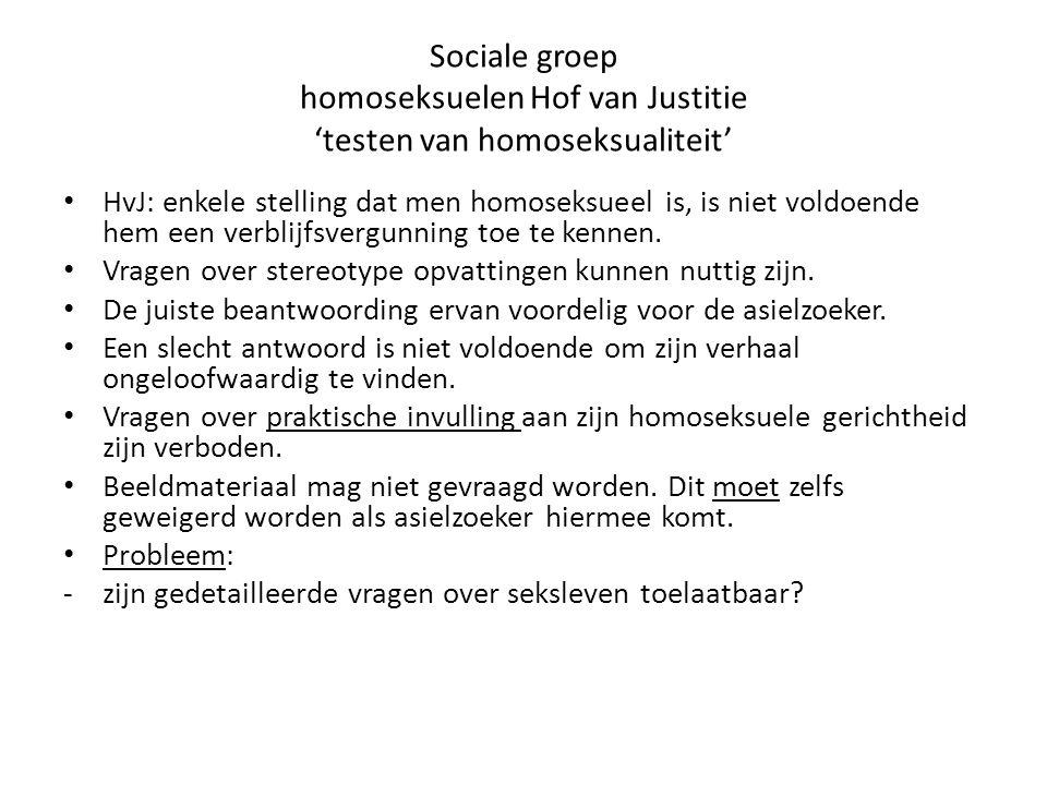 Sociale groep homoseksuelen Hof van Justitie 'testen van homoseksualiteit'