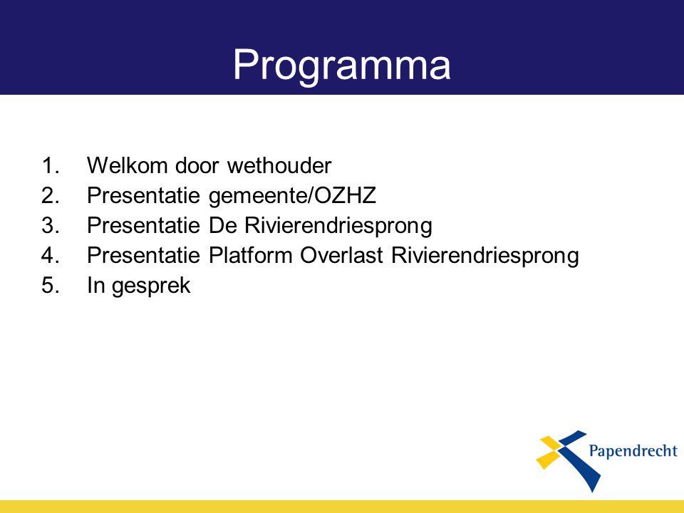 Programma Welkom door wethouder Presentatie gemeente/OZHZ