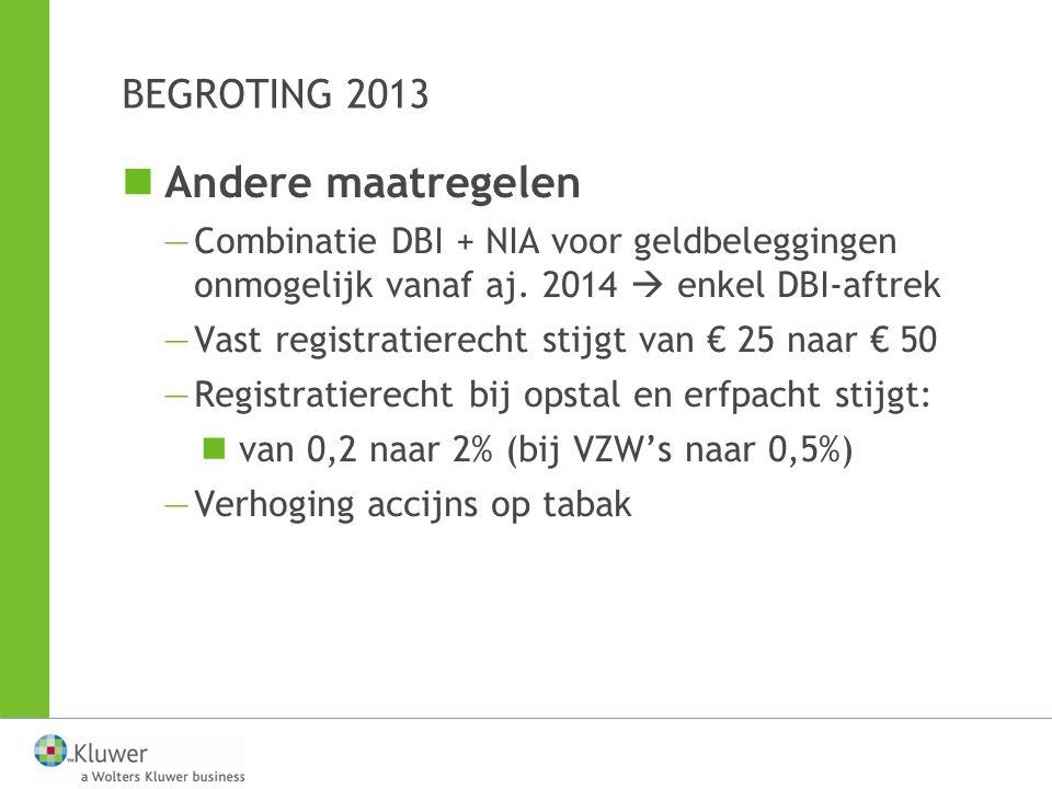 Andere maatregelen BEGROTING 2013