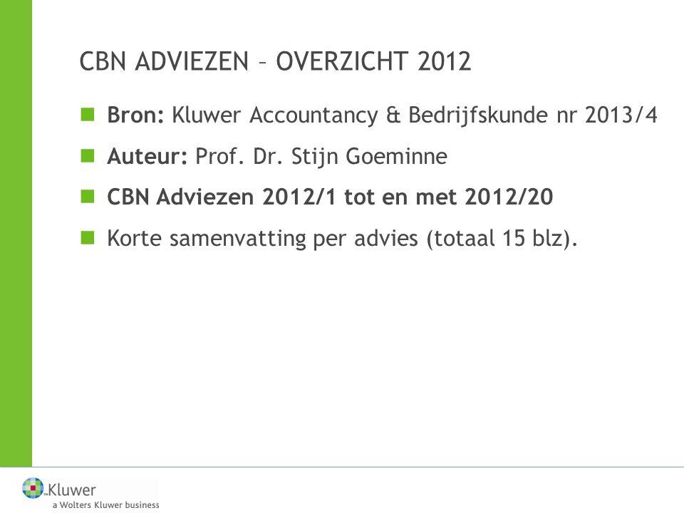 CBN ADVIEZEN – OVERZICHT 2012