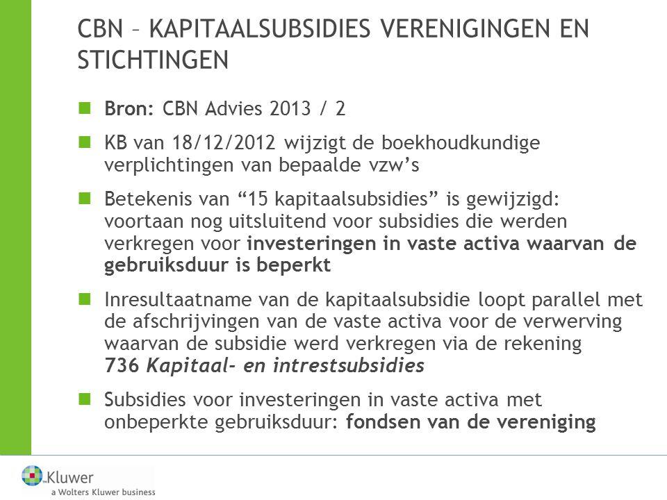 CBN – KAPITAALSUBSIDIES VERENIGINGEN EN STICHTINGEN