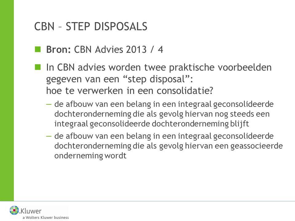 CBN – STEP DISPOSALS Bron: CBN Advies 2013 / 4