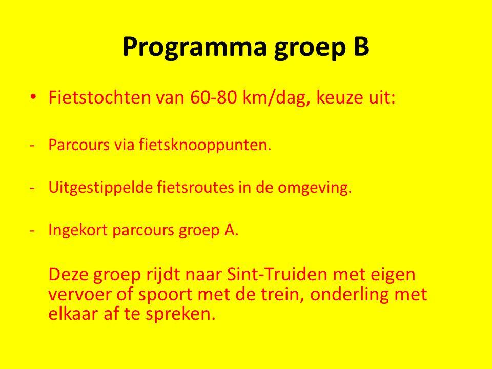 Programma groep B Fietstochten van 60-80 km/dag, keuze uit: