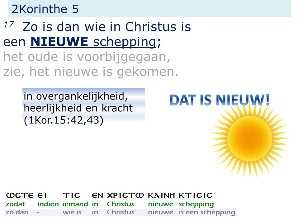 17 Zo is dan wie in Christus is een NIEUWE schepping;
