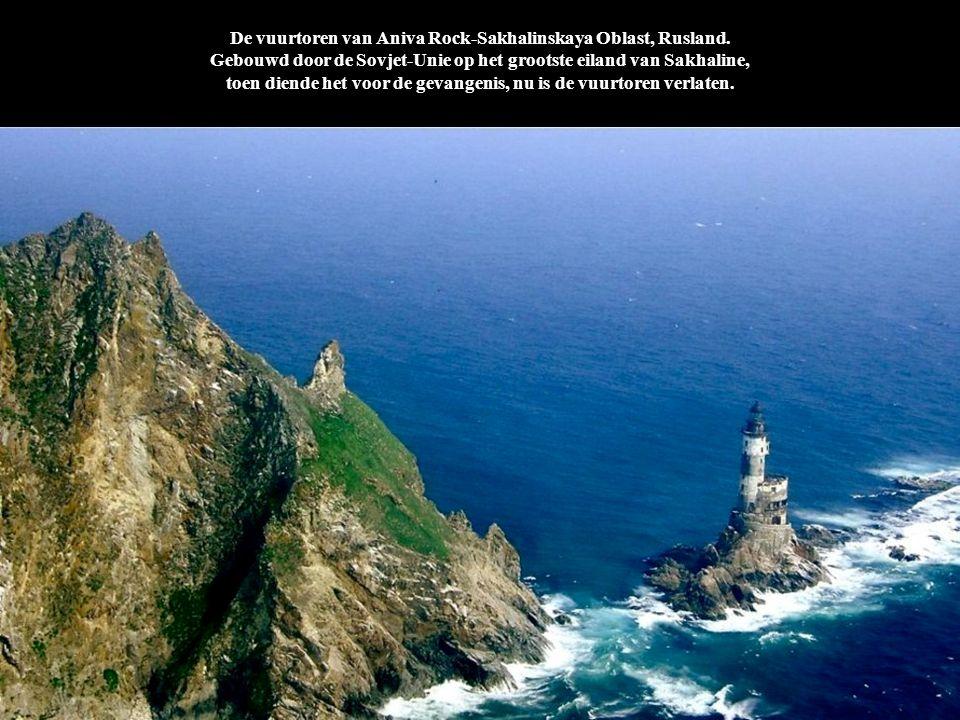 De vuurtoren van Aniva Rock-Sakhalinskaya Oblast, Rusland