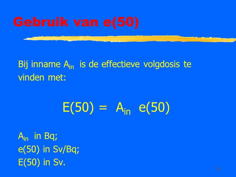 Gebruik van e(50) E(50) = Ain e(50)