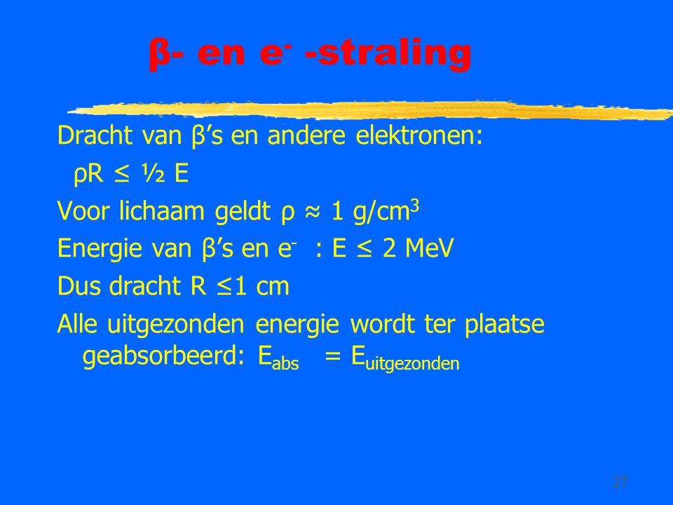 β- en e- -straling Dracht van β's en andere elektronen: ρR ≤ ½ E
