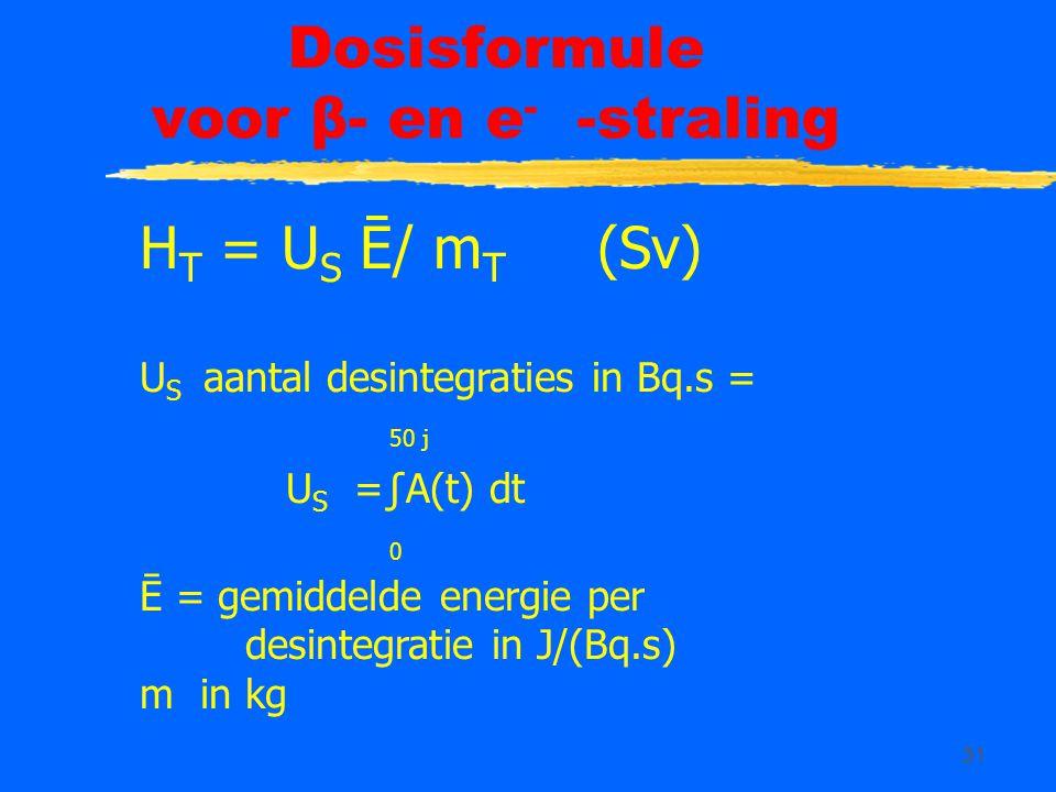 Dosisformule voor β- en e- -straling
