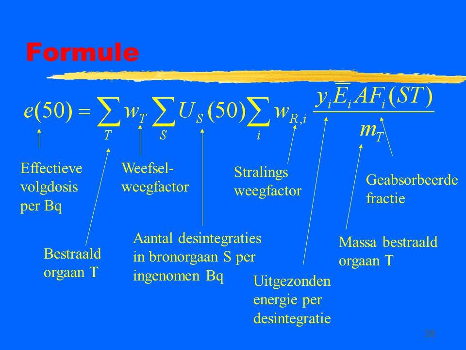 Formule Effectieve volgdosis per Bq Weefsel-weegfactor