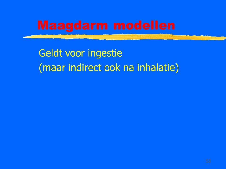 Maagdarm modellen Geldt voor ingestie (maar indirect ook na inhalatie)