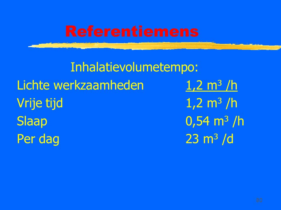 Referentiemens Inhalatievolumetempo: Lichte werkzaamheden 1,2 m3 /h