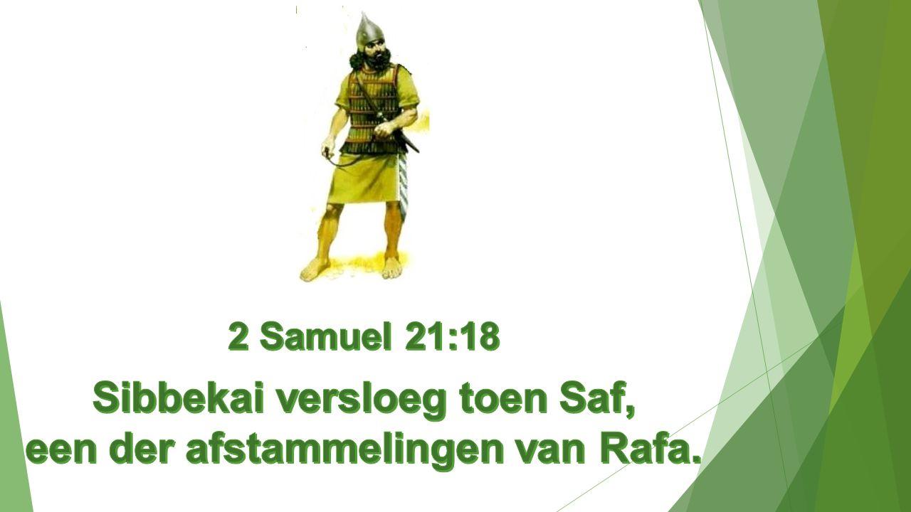 Sibbekai versloeg toen Saf, een der afstammelingen van Rafa.