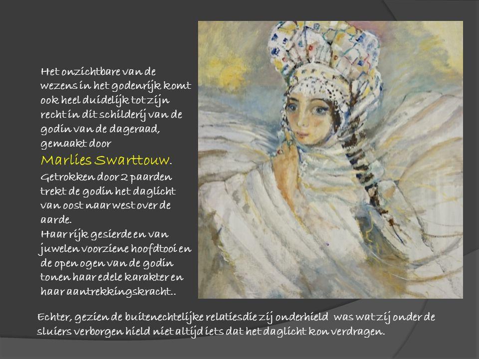 Het onzichtbare van de wezens in het godenrijk komt ook heel duidelijk tot zijn recht in dit schilderij van de godin van de dageraad, gemaakt door