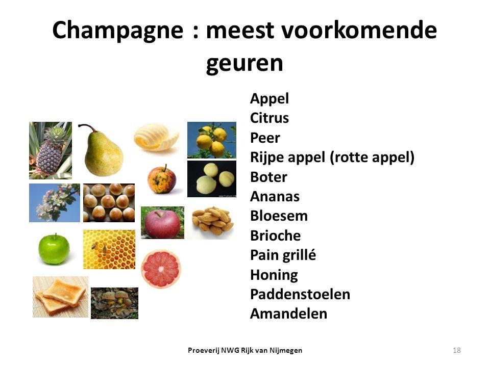 Champagne : meest voorkomende geuren