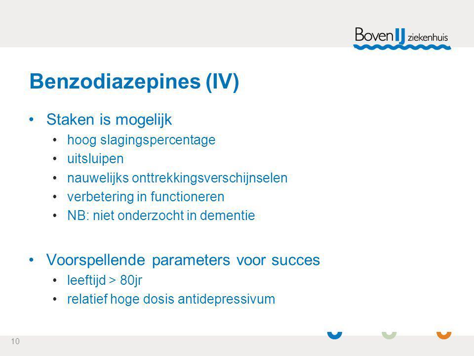Benzodiazepines (IV) Staken is mogelijk