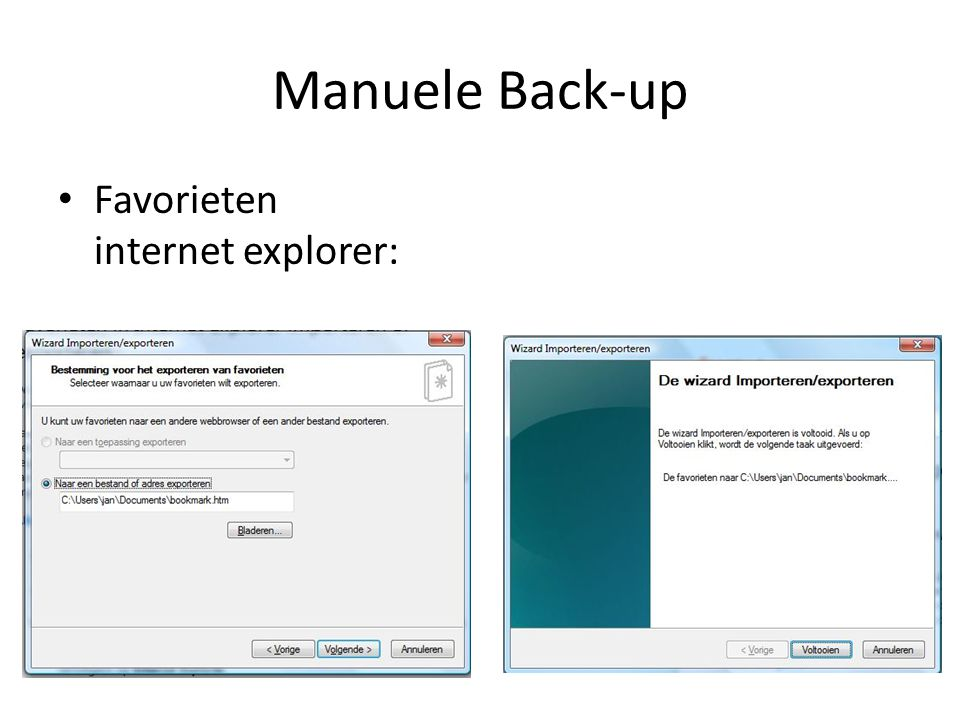 Manuele Back-up Favorieten internet explorer: