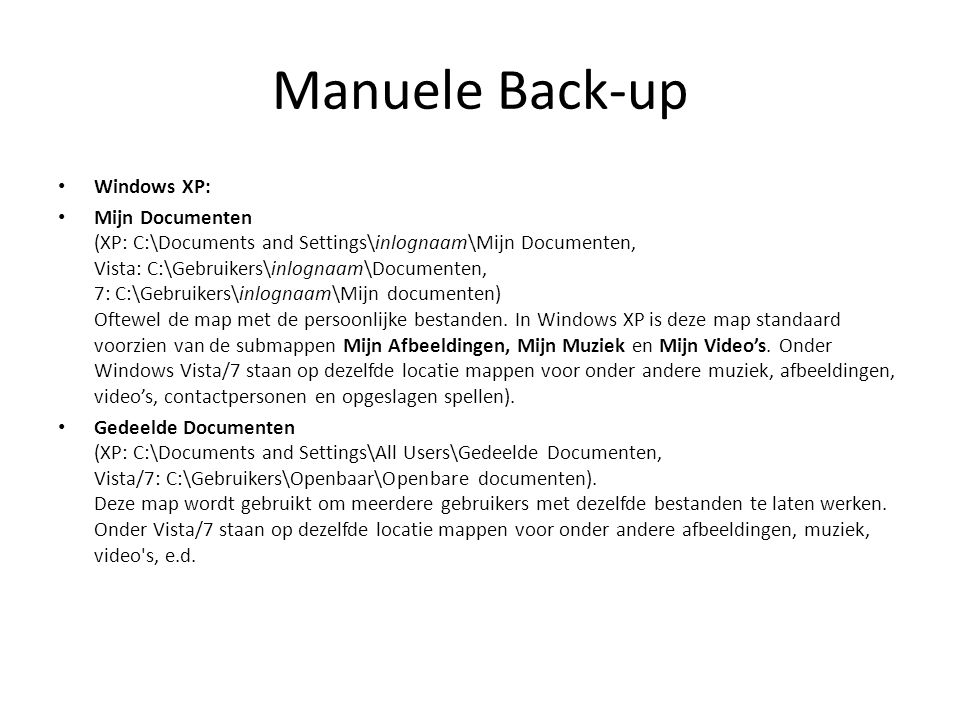 Manuele Back-up Windows XP: