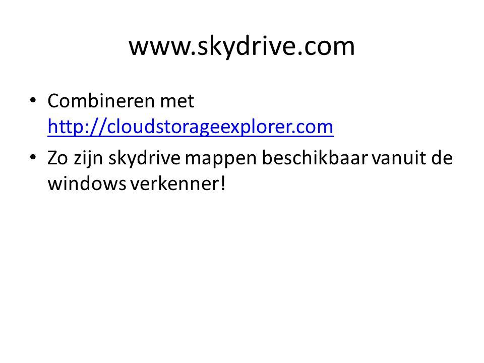 www.skydrive.com Combineren met http://cloudstorageexplorer.com