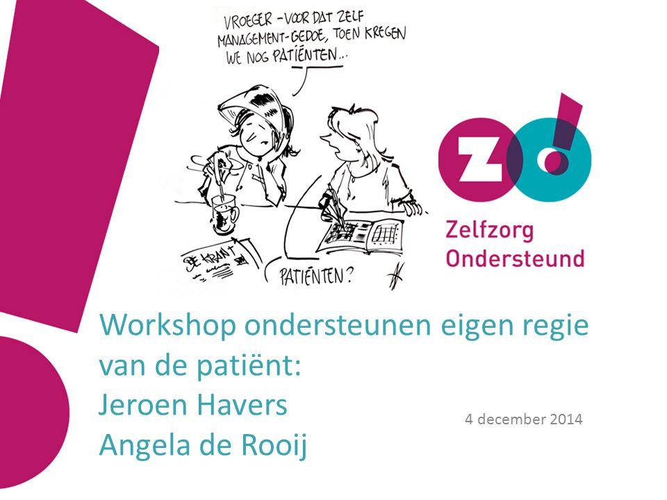 Workshop ondersteunen eigen regie van de patiënt: Jeroen Havers Angela de Rooij