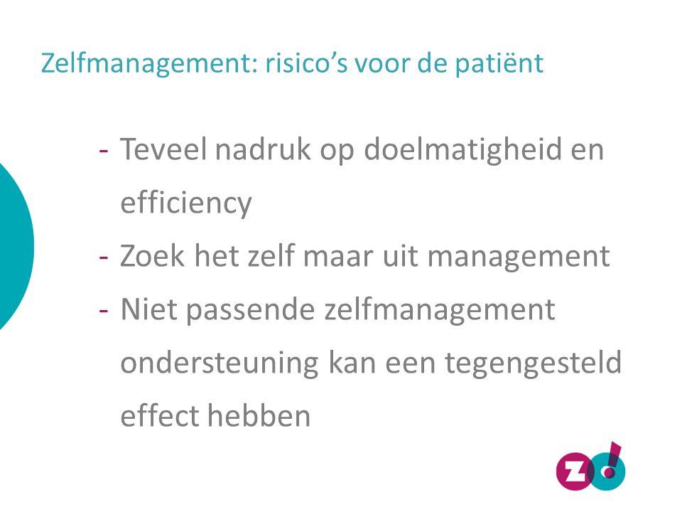 Zelfmanagement: risico's voor de patiënt