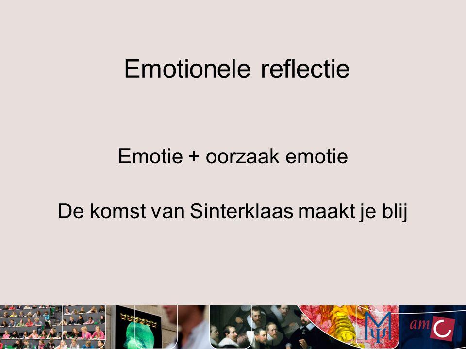 Emotionele reflectie Emotie + oorzaak emotie