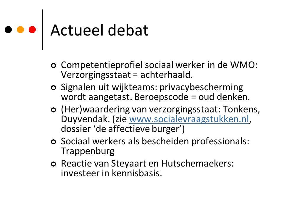 Actueel debat Competentieprofiel sociaal werker in de WMO: Verzorgingsstaat = achterhaald.