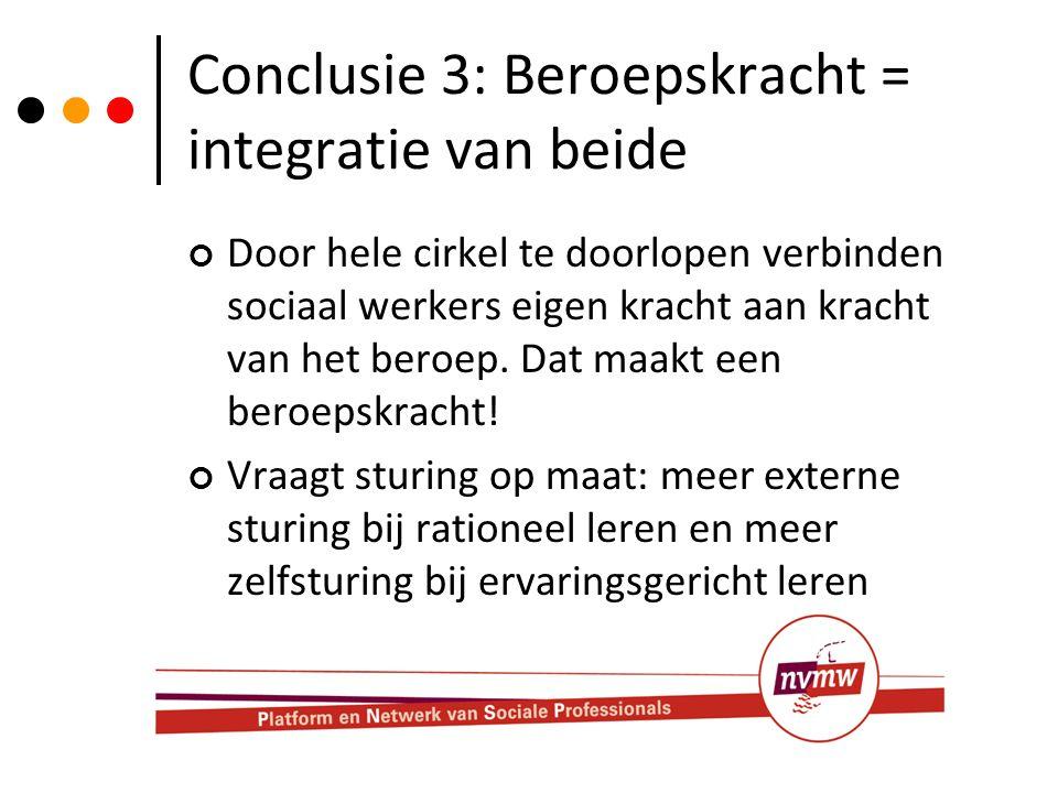 Conclusie 3: Beroepskracht = integratie van beide
